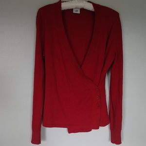 CAbi ballet wrap side button red cardigan size S